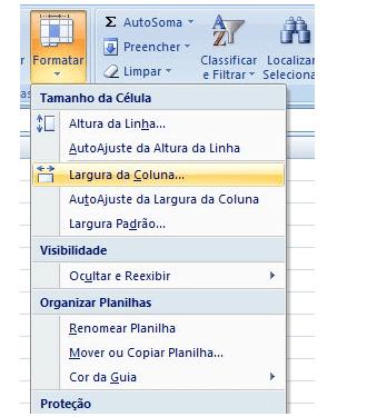 Redimensionar Linhas e Colunas da Planilha de Excel