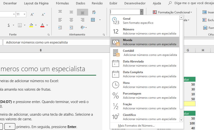 Diferença Entre os Formatos Moeda e Contábil no Excel