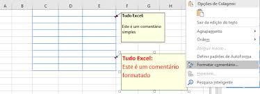 Formatar um Comentário na Célula Excel 2016