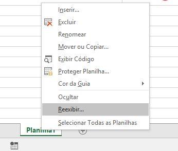 Reexibir Uma Planilha no MS Excel 2016