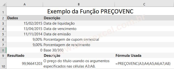 Função PREÇOVENC do Excel