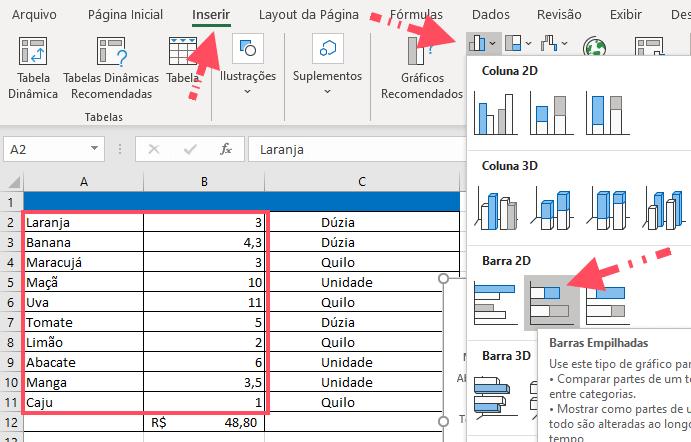 Criar um gráfico no Excel