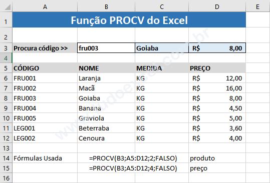 Função PROCV do Excel