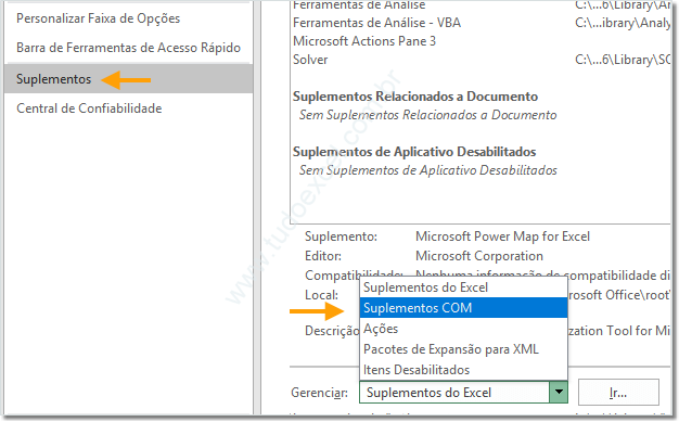 Instalando o Suplemento Power Map no Excel