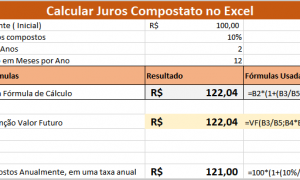 calcular juros compostos usando o Excel