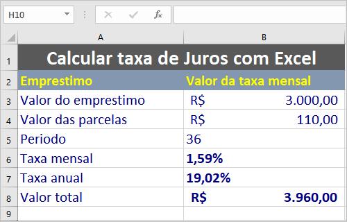 Calcular a taxa de juros com Excel