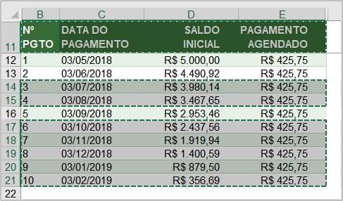 Desmarcar uma seleção na planilha de Excel