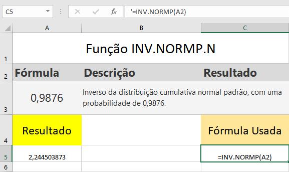 Função INV.NORMP.N
