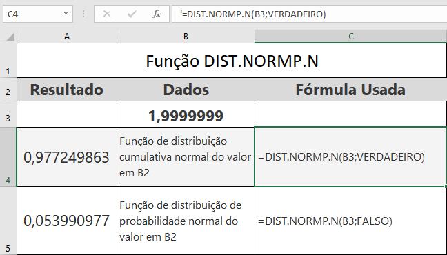 Função DIST.NORMP.N de Compatibilidade do Excel