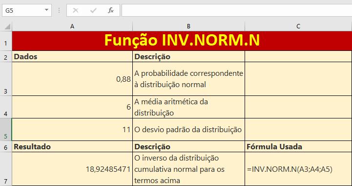 Função INV.NORM.N entenda como usar no Excel