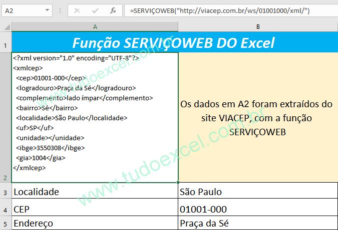 Função SERVIÇOWEB do Excel