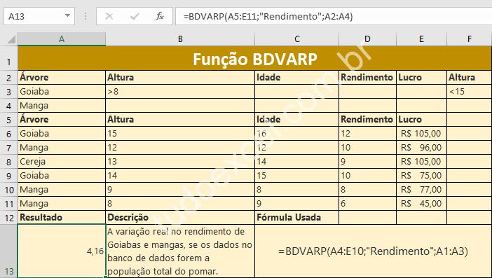 Função BDVARP do Excel