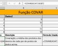 Função COVAR no Excel