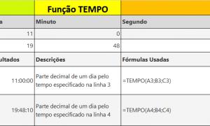 Função TEMPO do Excel hora específica