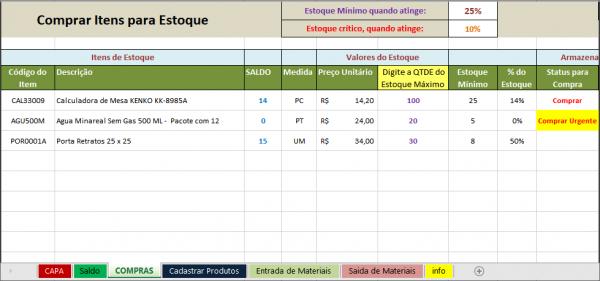 Planilha de Controle de Estoque - compra de materiais