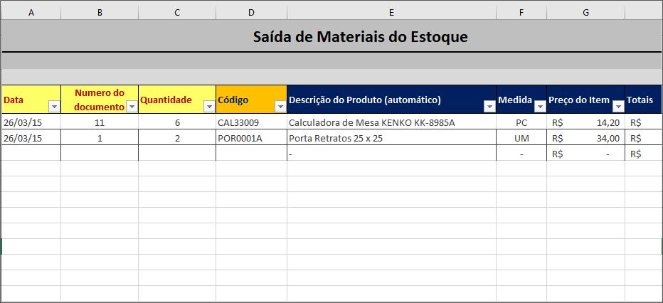 Planilha de Controle de Estoque - saída de materiais