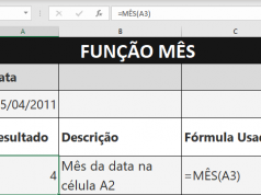 Função MÊS do Microsoft Excel