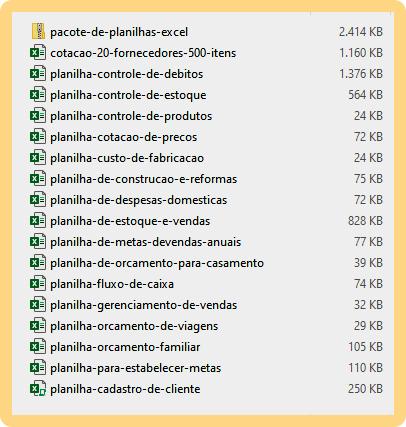 Pacote de Planilhas de Excel