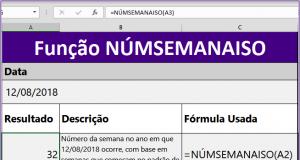Função NÚMSEMANAISO do Excel