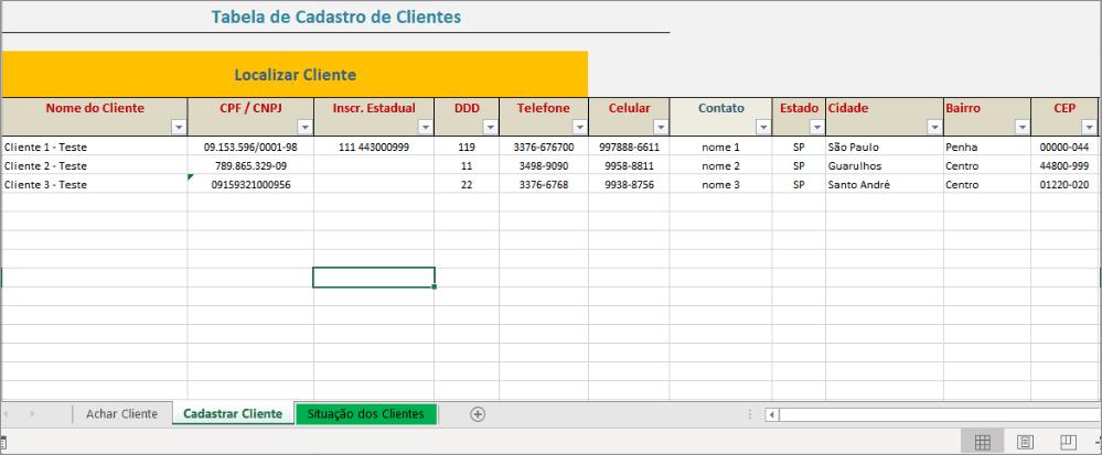 Tabela para cadastrar clientes