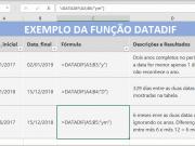 Função DATADIF do Excel Exemplo Prático