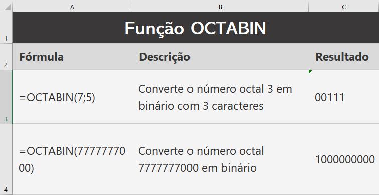 Função OCTABIN do Excel para engenharia