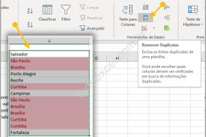Excluir dados repetidos na planilha de Excel