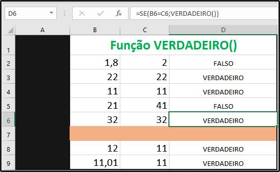 Função VERDADEIRO no Excel