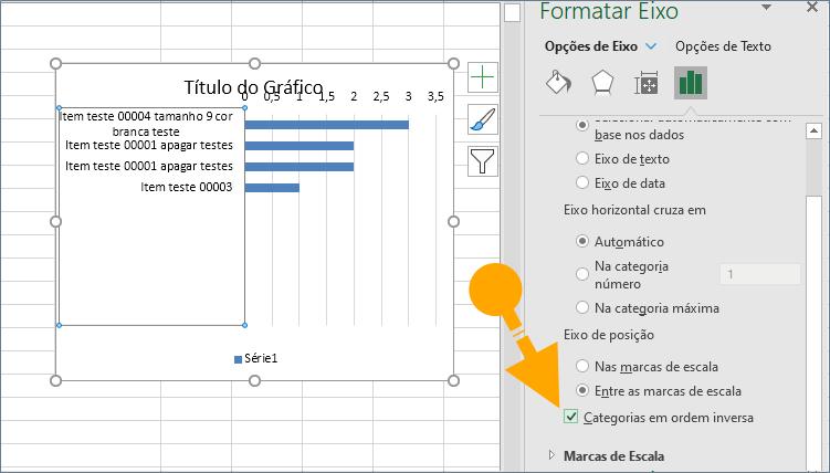 Categoria de ordem inversa no gráfico Excel