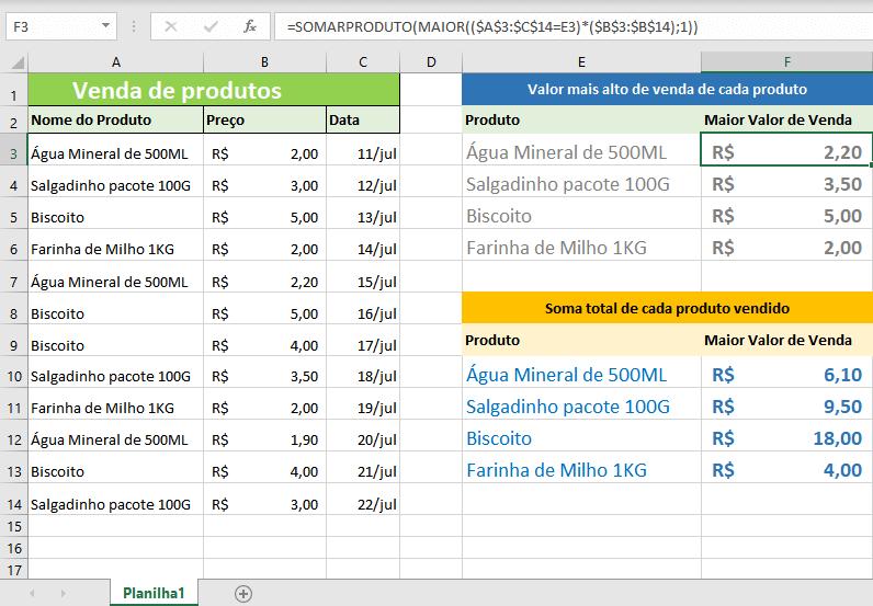 Como achar o maior valor de um item repetido na planilha