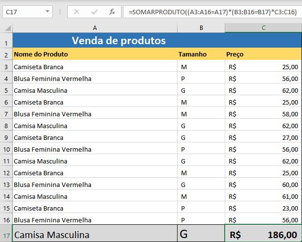 Função SOMARPRODUTO no Excel Saiba Como Usar