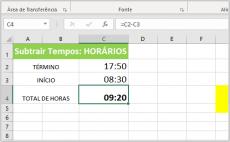 Adicionar ou Subtrair Intervalos de Tempos no Excel