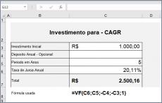 Como Calcular CAGR com a função VF no Excel