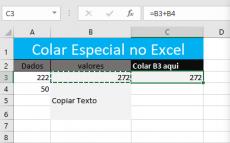 Usando o botão Colar Especial do Excel