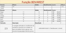 Função BDVAREST de Banco de Dados no Excel