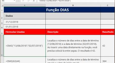 Saiba Como usar a Função DIAS do MS Excel