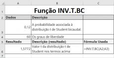 Função INV.T.BC de Estatística no Excel