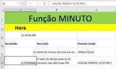 Função MINUTO do Excel para data e hora