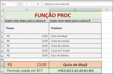 Função PROC do Excel Correspondência Aproximada