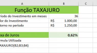 Como Usar a Função TAXAJURO do Excel