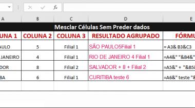 Mesclar e Combinar Colunas Sem Perder Dados no Excel