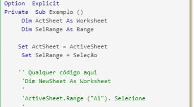 Armazenar a seleção de intervalo atual usando o VBA no Excel